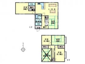 駐車場が2台分有る、6LDKのお家です